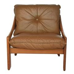 Danish Scandinavian Armchairs in Natural Leather and Wooden Frame
