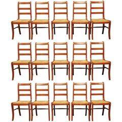 Set of 45 French Grange Rush Seat Dining Chairs