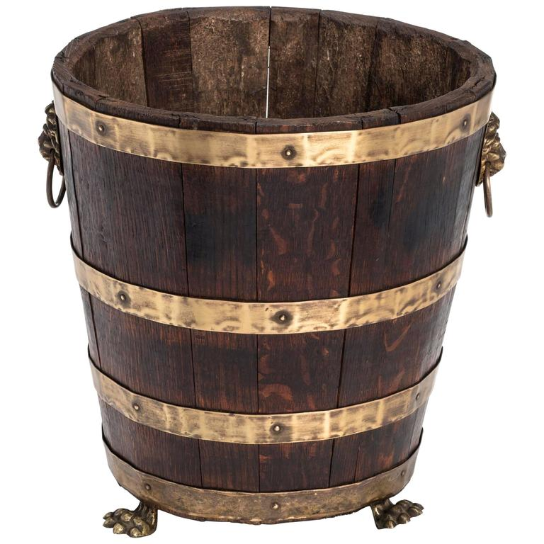Antique Wood and Brass Bucket