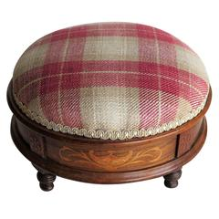 Early Victorian Foot stool Walnut Marquetry Inlay Re-upholstered, Ca. 1845