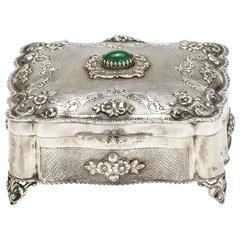 Beautiful German Silver Box with Jewel Chalcedony Stone