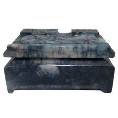 Blue and White Marble Decorative or Jewelry Box