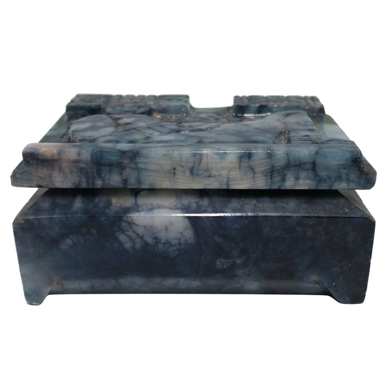 Blue and White Marble Carved Jewelry Box For Sale