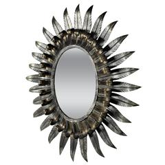 1960s Spanish Double Layered Eyelash Gilt Iron and Silvered Oval Sunburst Mirror