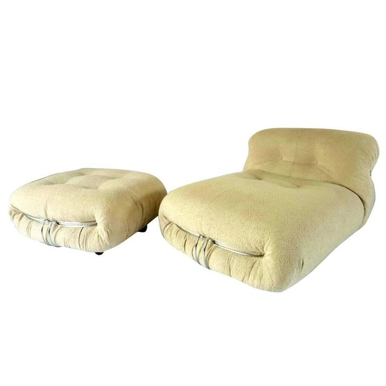 Cassina Soriana Lounge Chair and Ottoman, Afra & Tobia Scarpa, Fabric, REFRESHED