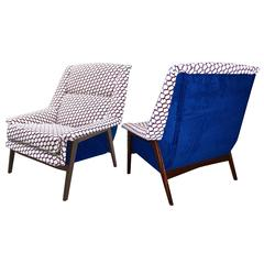 1960s Italian Pair of Vintage Walnut Armchairs in Cobalt Blue White Red Fabric