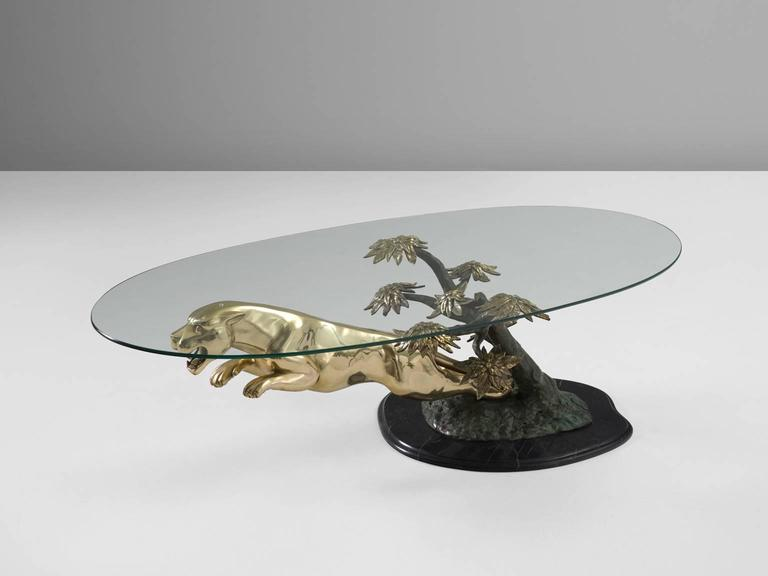 Mid Century Modern Cast Bronze Glass Jaguar Coffee Table For Sale