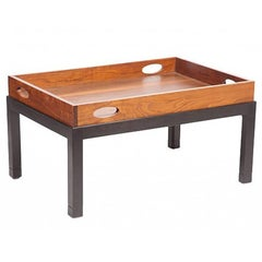Coffee Table Made from Large Mid-Century Walnut Butler's Tray on Custom Stand