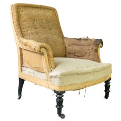 French 19th Century Armchair in Burlap and Muslin