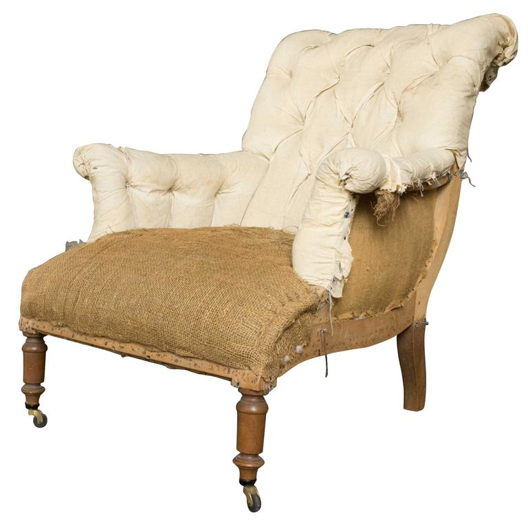 French Napoleon III Armchair with Rolled Back