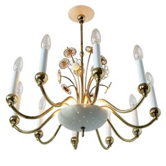 Lightolier 10 Arms  Brass Chandelier Attributed to  Paavo Tynell , 1950 , USA