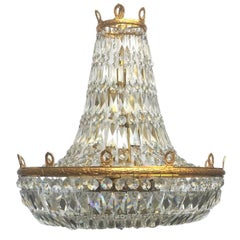 Huge Basket Chandelier Emipre Style by Palwa Gold-Plated, 1970s, Germany