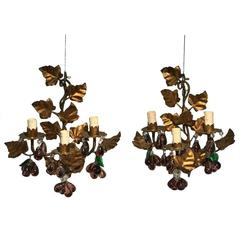 Italian Pair of Gilt Tole and Crystal Pendants Wall Lights, Circa 1950