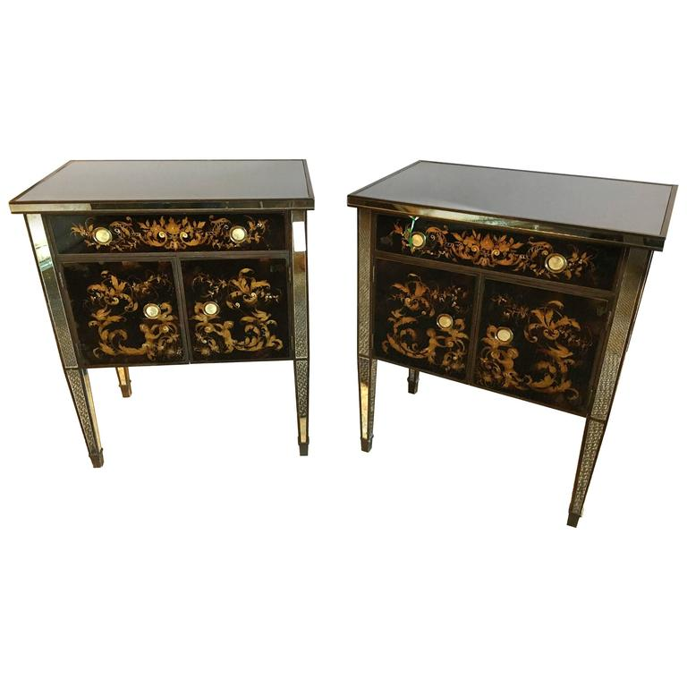 Pair of Jansen Mirror and Eglomise Nightstands or End Tables