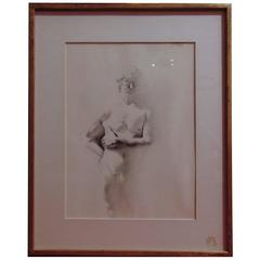 Male Nude Drawing by Robert Crowl