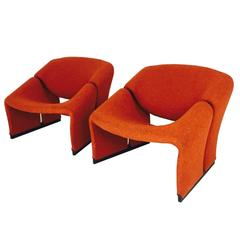 Pair of Orange Groovy Pierre Paulin Lounge Chairs for Artifort