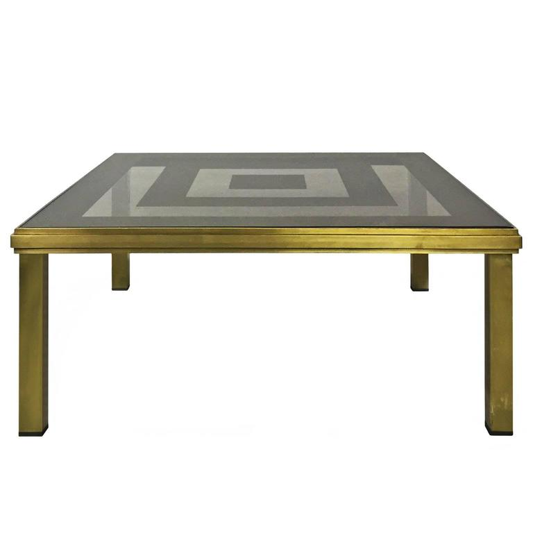 1970s French Square Brass Coffee Table with Concentric Mirror Top