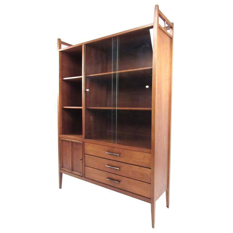 Mid Century Modern Walnut China Cabinet By Lane Altavista For
