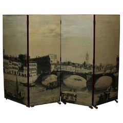 Four-Panel Transfer and Lacquered Screen by Piero Fornasetti