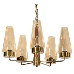Danish Mid-Century Modern Chandelier in Teak and Brass