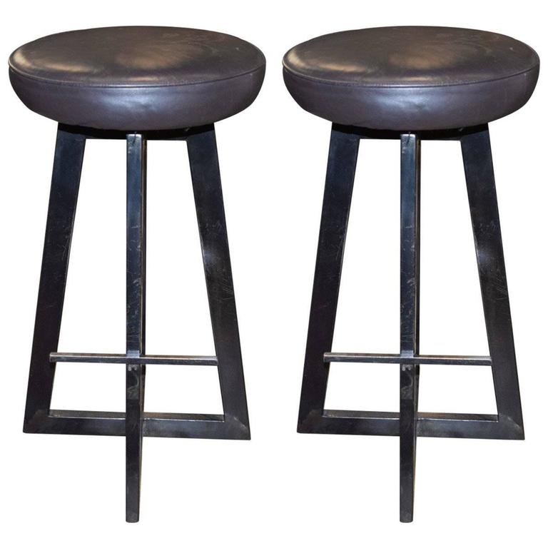 Industrial Leather And Iron Bar Stools At 1stdibs