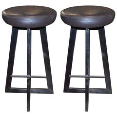 Industrial Leather and Iron Bar Stools