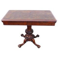 19th Century Burr Walnut Fold over Card Table