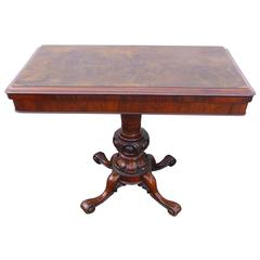 19th Century Burr Walnut Fold over Card Table