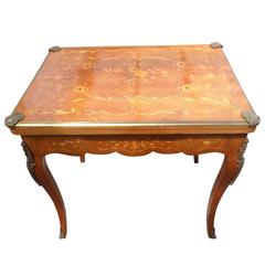 19th Century Walnut and Marquetry Fold over Card Table