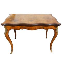 19th Century French Burr Walnut Card Table