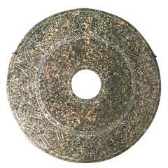 Important Ancient China Jade Bi Disc, Han Dynasty 206BC- 220AD