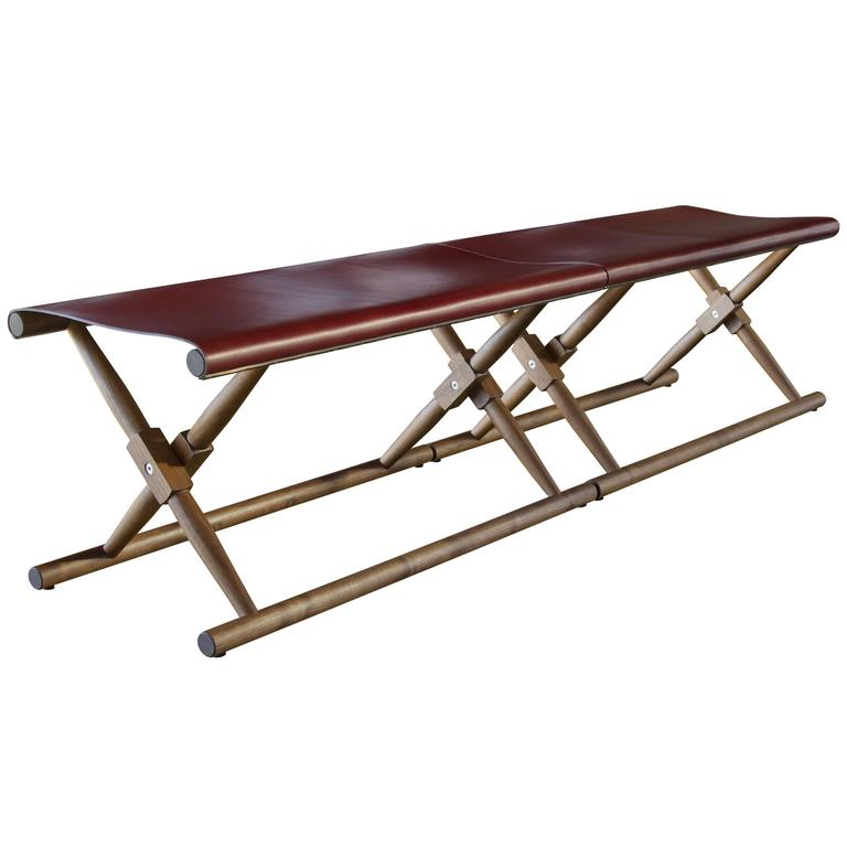 Pair of Matthiessen Folding Benches in Oiled Walnut with Leather Slings