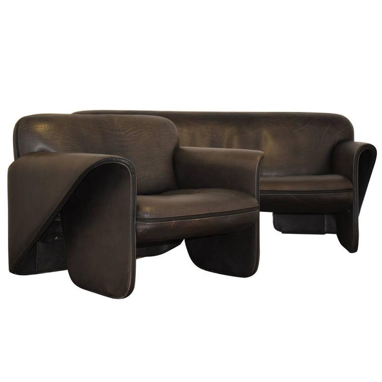 Vintage Swiss de Sede 'DS 125' Sofa and Armchair Designed by Gerd Lange, 1978 1