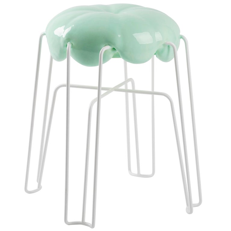 Marshmallow Stool by Paul Ketz in Mint Polyurethane Foam and Steel