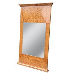 Antique Biedermeier Satin Birch Mirror