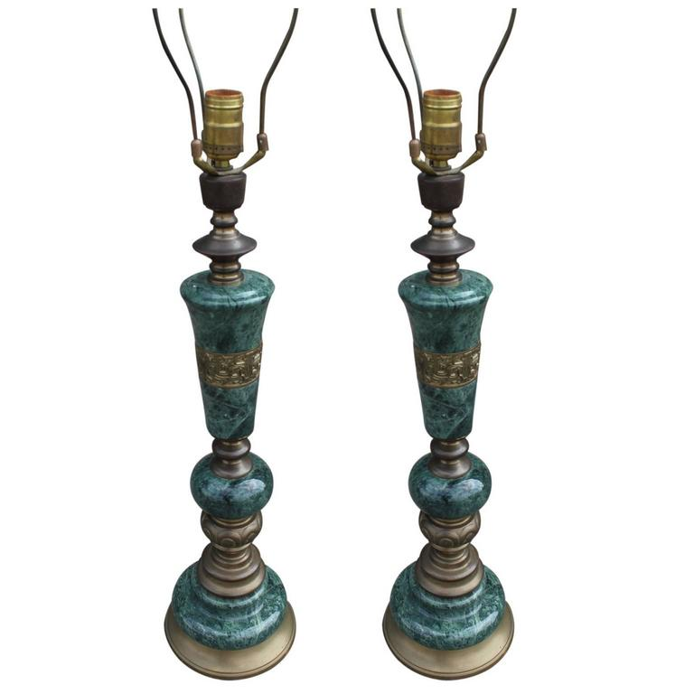 pair green marble brass modern table lamps ultra uk canada