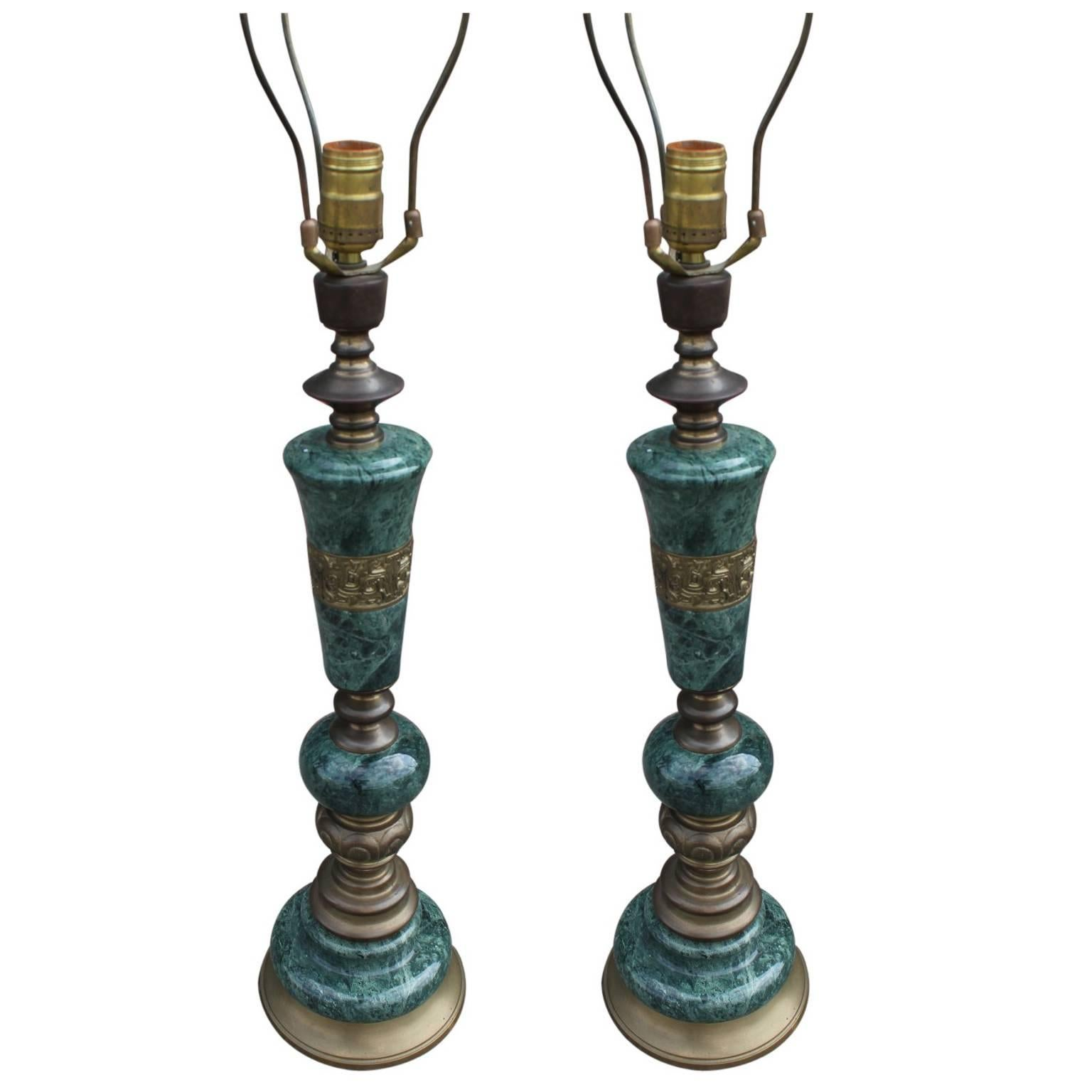 Pair Of Green Marble And Brass Modern Table Lamps For Sale At 1stdibs
