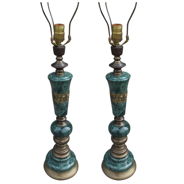 Pair of Green Marble and Brass Modern Table Lamps For Sale