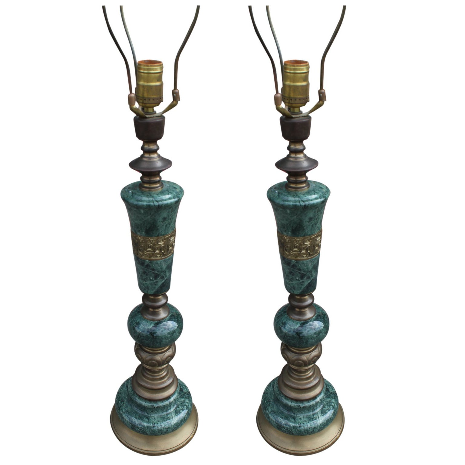 Pair of Green Marble and Brass Modern Table Lamps