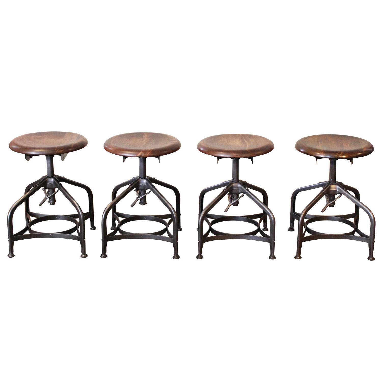 steampunk vintage industrial adjustable toledo wood metal factory shop stools for sale at 1stdibs