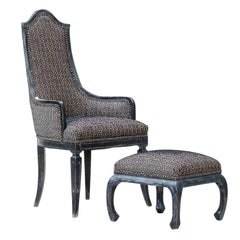 Chinese Chippendale Lounge Chair and Ottoman in Greek Key Fabric