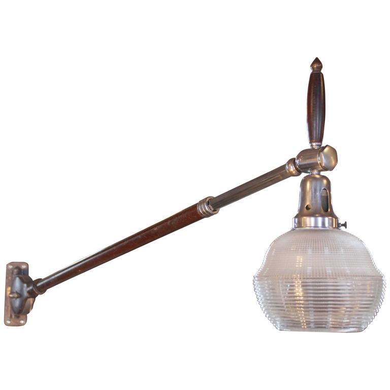 Wall Mounted Light, Lamp - Vintage Burton Adjustable Telescopic Ribbed Glass For Sale at 1stdibs