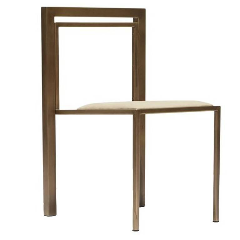 Natural Nubuck Leather and Antique Brass Dining Chair