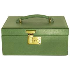 Tanner Krolle Green Leather Carry Handle Jewelry Case