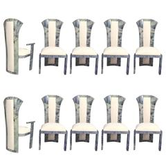 Goatskin Parchment Dining Chairs Set of Ten, After Aldo Tura
