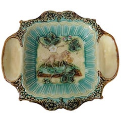 19th Century Majolica Strawberries Platter with Dog Holding a Basket