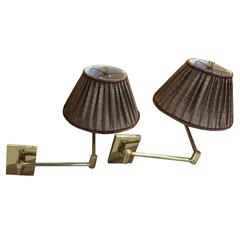 Pair of Vintage Hansen Brass Swing Arm Wall Lamps, Stamped in Cast Brass