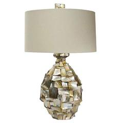 Large Mother-of-pearl Faceted Table Lamp