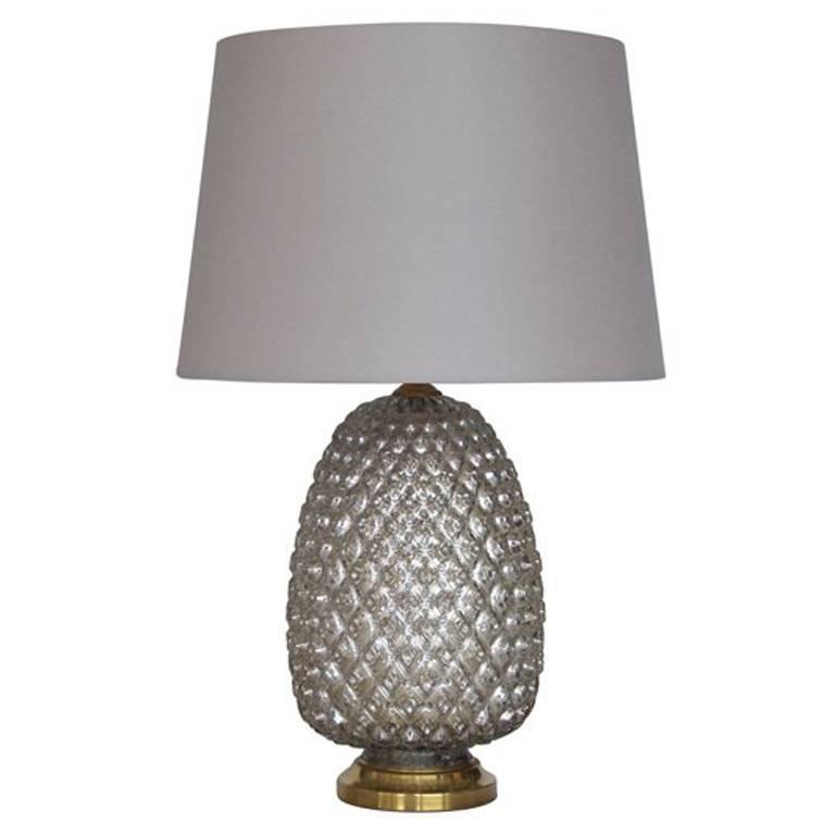 Large Pineapple Mercury Glass Lamp