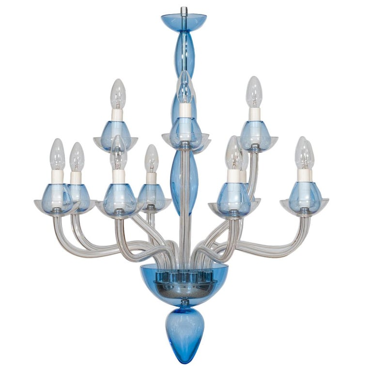 Italian Venetian,Chandelier, blown Murano Glass, Transparent & Light-Blue, 1990s